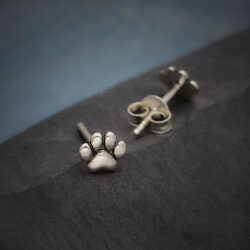 petite paw print sterling silver stud earrings