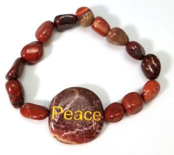 "red jasper gemstone ""Peace"" bracelet"