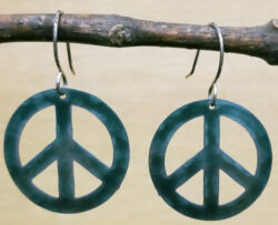 dark green peace sign earrings by Joseph Brinton