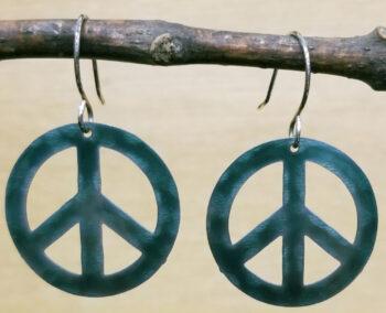 dark green peace sign earrings by Joseph Brinton