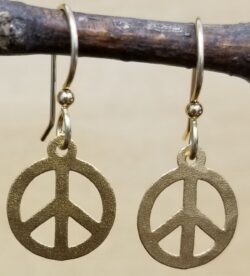 petite peace sign earrings by Joseph Brinton
