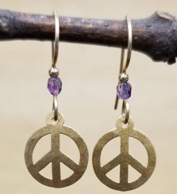 petite peace sign with purple bead earrings