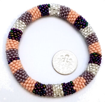 peach, purple, violet, silver-tone Czech glass roll-on bracelet with dime to help you gauge scale