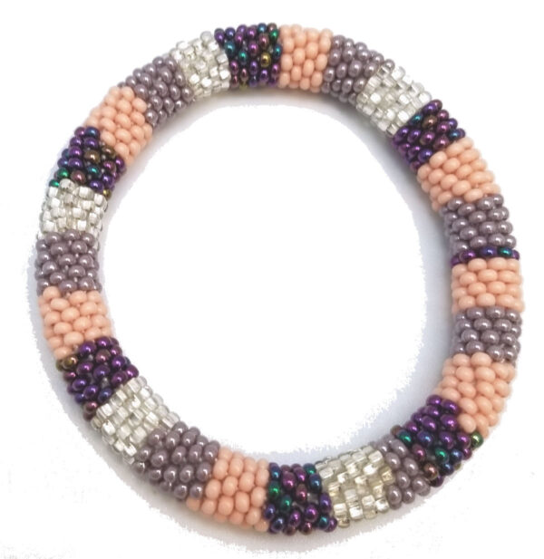 peach, purple, violet, silvertone Czech glass seed bead roll-on bracelet