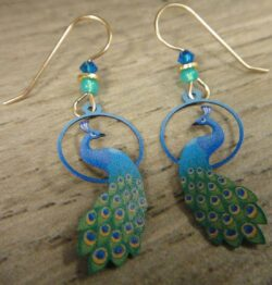 These green and blue peacock earrings are handmade by Sienna Sky.