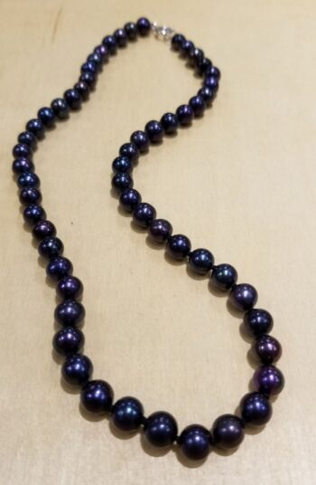 peacock colored fresh water pearl necklace