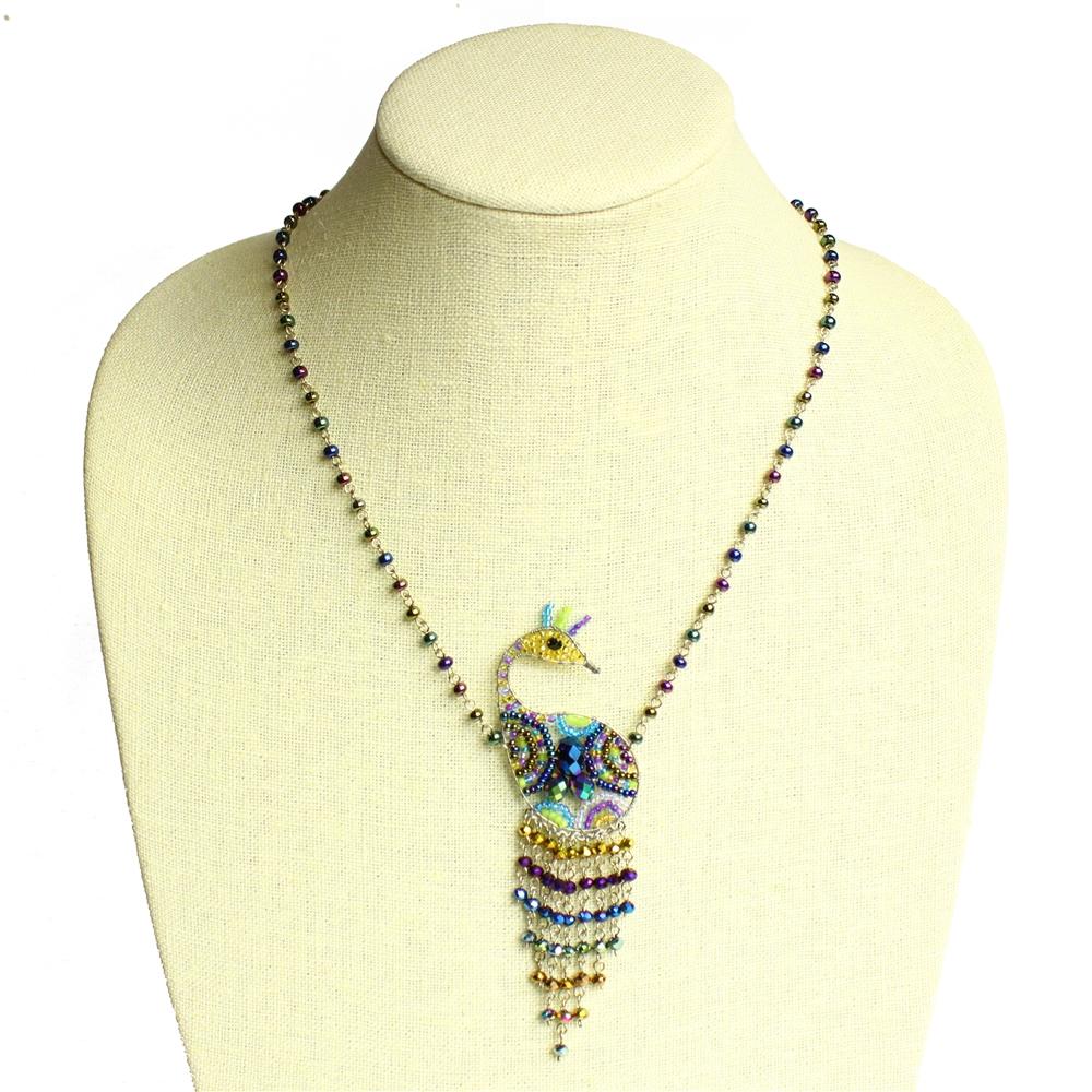peacock Czech Glass necklace