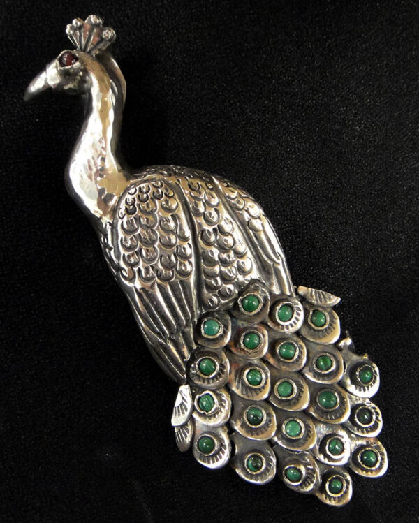 malachite, garnet, sterling silver peacock pendant/pin handmade in Taxco, Mexico
