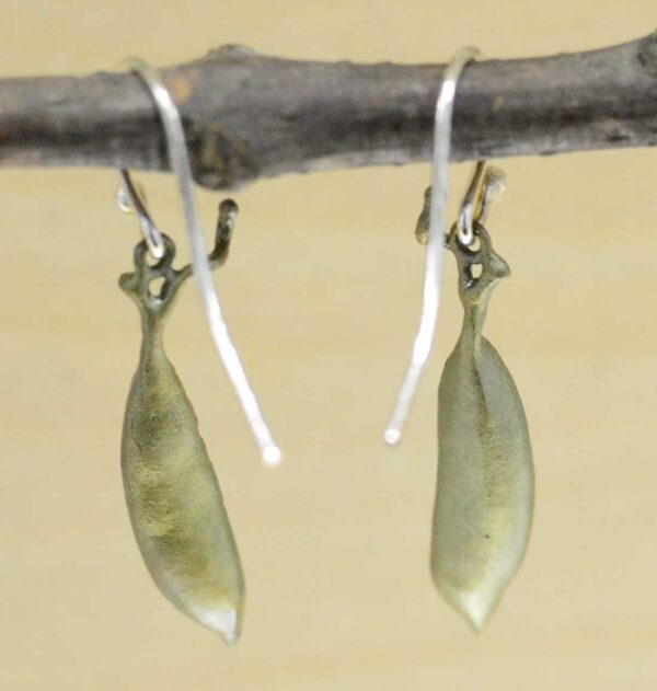 Back of Michael Michaud Silver Seasons pea pod dangle earrings
