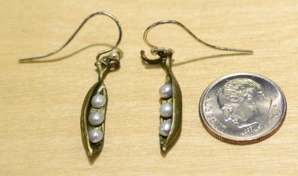 Michael Michaud Pea pod dangle earrings, shown with dime (not included) for scale