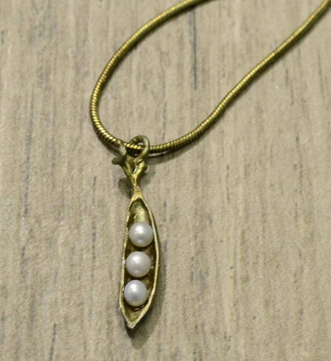 handmade bronze and pearl pea pod necklace