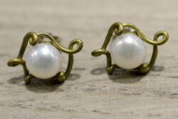 handmade Pea Pod pearl and bronze Michael Michaud earrings