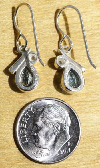 Back of blue topaz and freshwater earrings (pictured with dime for scale)