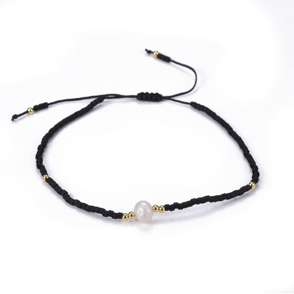 white fresh water pearl with black and gold tone art glass seed bead adjustable bracelet
