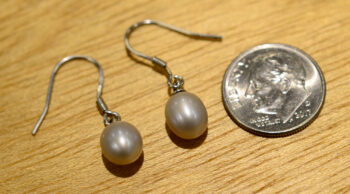 gray pearl drop earrings with dime