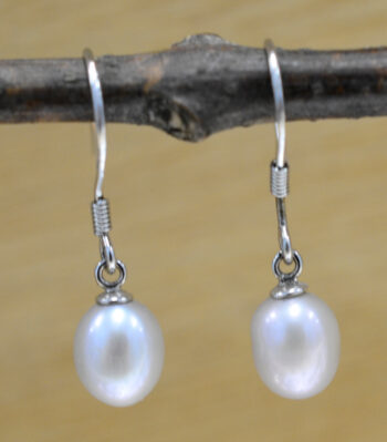 handmade gray freshwater pearl drop earrings