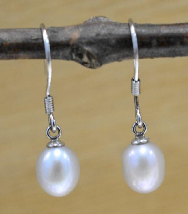 handmade gray freshwater pearl drop earrings