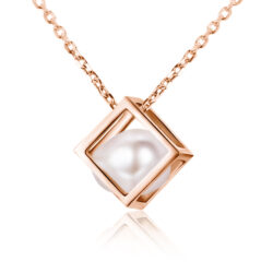 fresh water pearl in rose gold plated sterling silver cube necklace