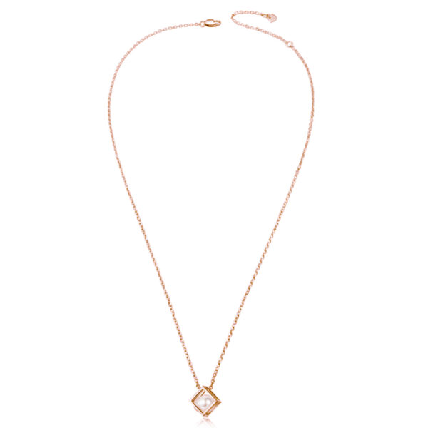 pearl in rose gold-plated sterling silver cube necklace
