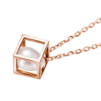 side view of pearl in rose gold plated sterling silver cube pendant