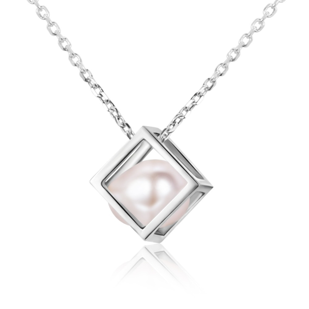 Fresh water pearl in sterling silver cube necklace