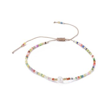 thin multicolor art glass seed bead bracelet with pearl center