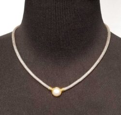 fresh water pearl necklace with gold-plated accents