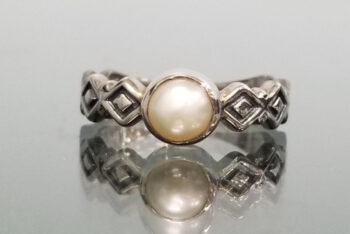 front view of pearl and sterling silver ring