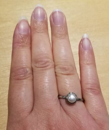 fresh water pearl ring on hand