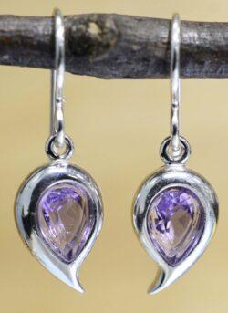 Pear Shaped Amethyst Earrings