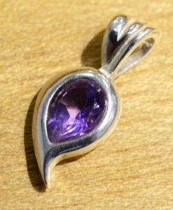 Handmade purple amethyst and sterling silver pendant