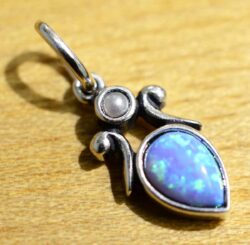 Handmade light blue opal, pearl, and sterling silver pendant