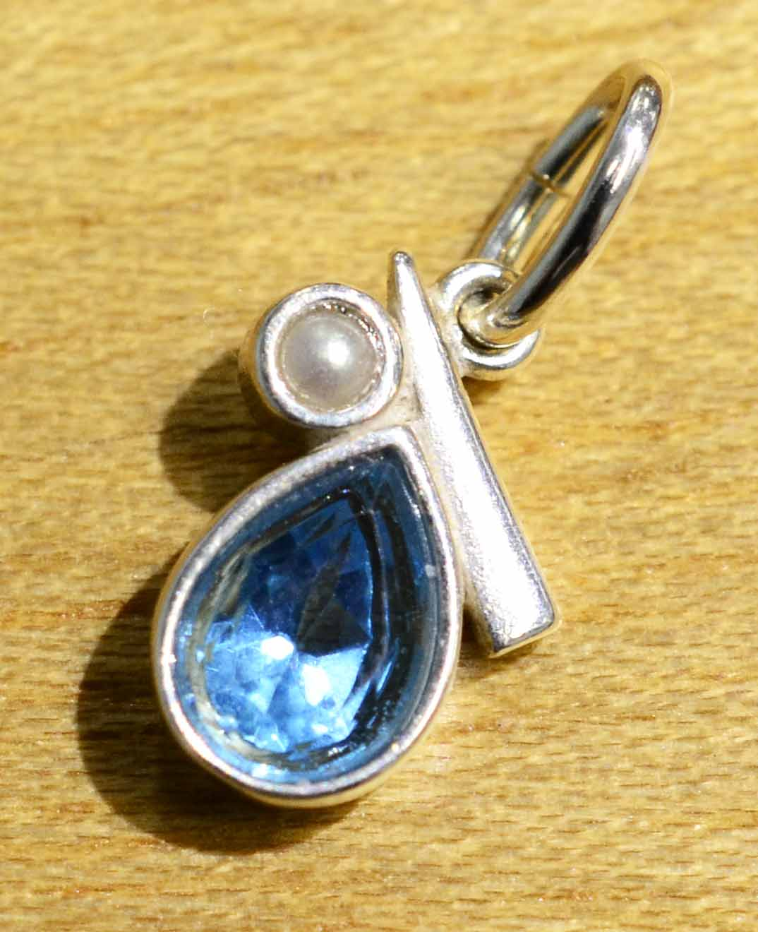 Handmade blue topaz pearl and sterling silver pendant