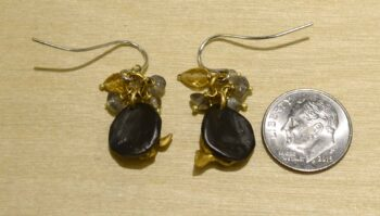 Second nature jewelry pebble drop earrings with citrine and labradorite back view