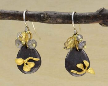 Second nature jewelry pebble drop earrings with citrine and labradorite