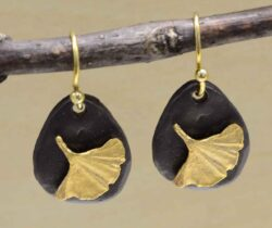 Second Nature jewelry Ginkgo leaf on pebble dangle earrings