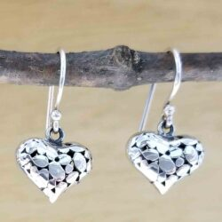 heart pebble texture sterling silver earrings