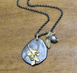 Second Nature jewelry Pebble leaf necklace