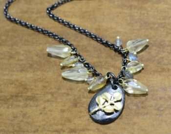 Second Nature jewelry pebble with citrine and labradorite necklace