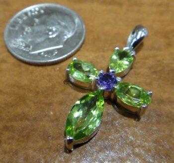 Handmade peridot and amethyst cross pendant