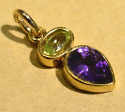 green peridot and purple amethyst gold vermeil handmade drop pendant