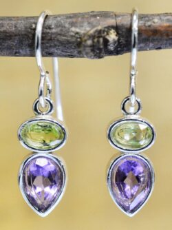 These sterling silver peridot and amethyst earrings are handmade by Sonoma Art Works.