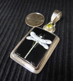 Russian hand painted dragonfly on black onyx on green peridot, sterling silver pendant with dime for size
