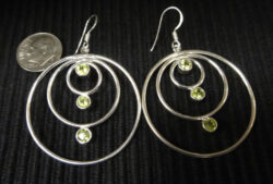 peridot silver circle earrings