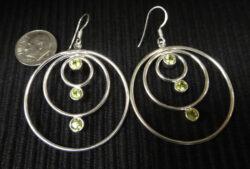 peridot silver circle earrings