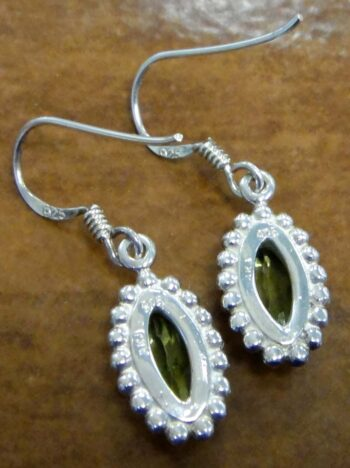 back of peridot and silver earrings
