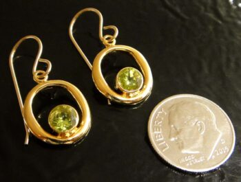 These peridot and 14 k gold vermeil earrings are handmade by Sonoma Art Works (pictured with dime for scale).