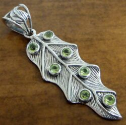 green peridot and sterling silver leaf pendant