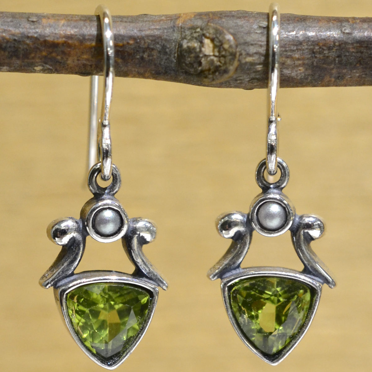handmade green peridot and freshwater pearl drop earrings