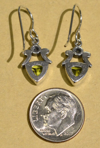 back of handmade green peridot and freshwater pearl drop earrings with dime